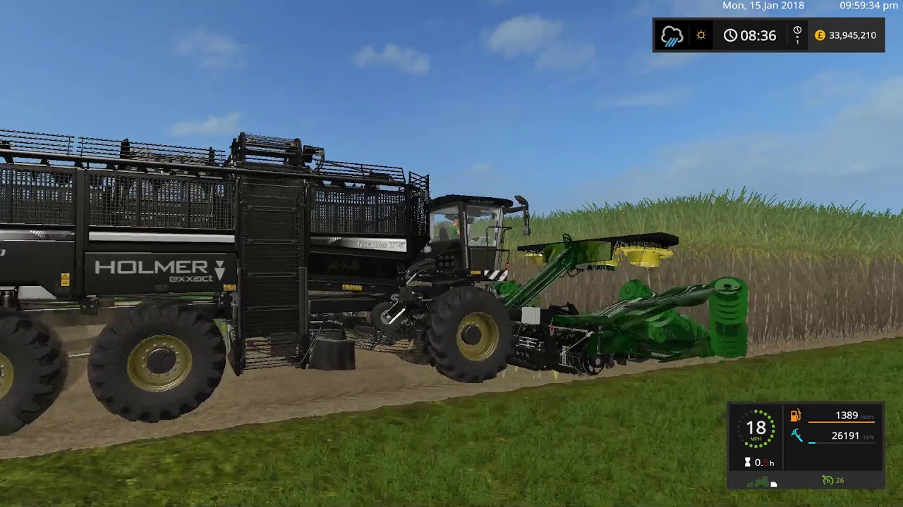 FARM SIMULATOR 2017 - holmer sugarcane harvester with hitch +trailer