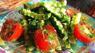 """Салат из овощей """"Малосольный"""" Самый быстрый рецепт малосольных огурцов Lightly salted cucumber"""