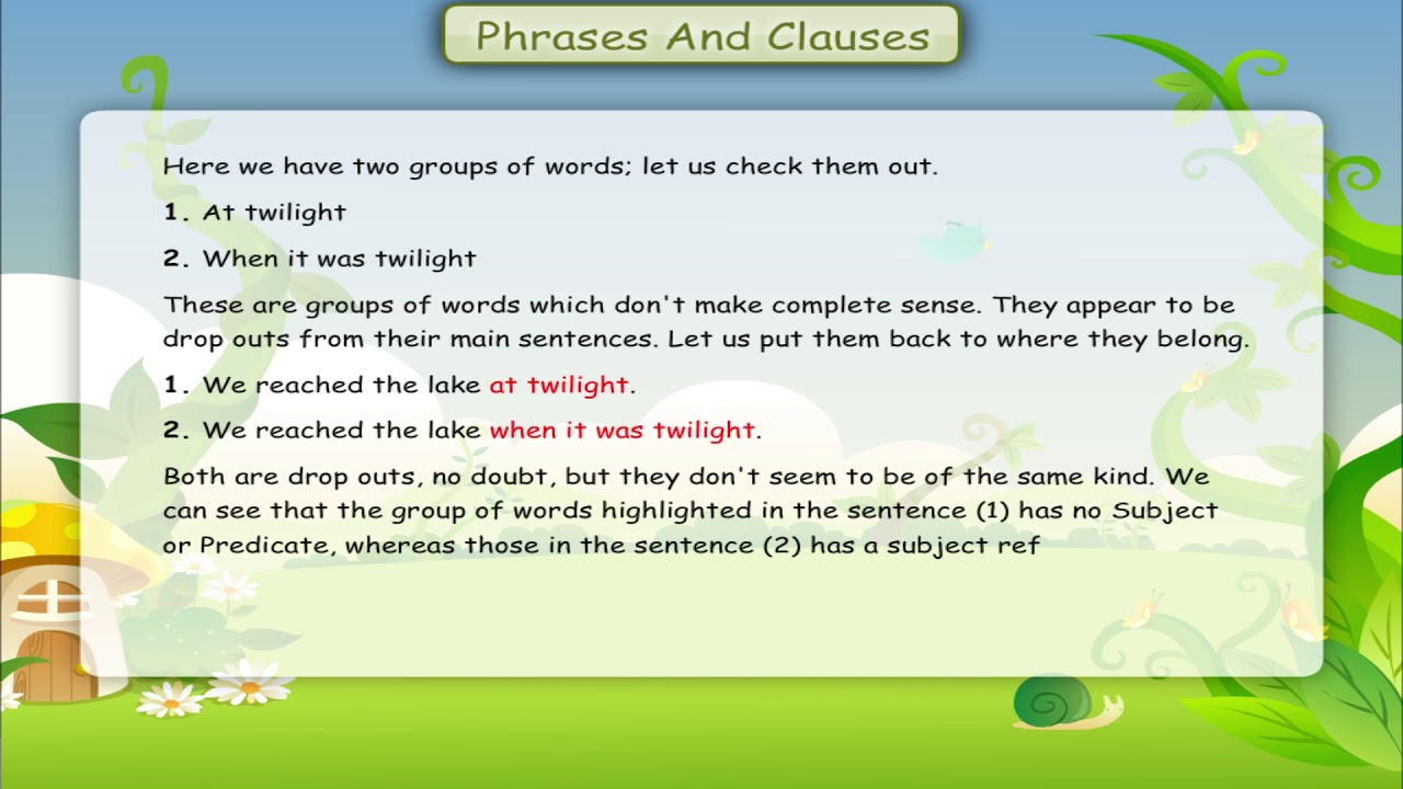 small resolution of PHRASES AND CLAUSES class-7 - YouTube
