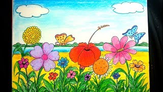 How to draw a scenery of flower garden step by step