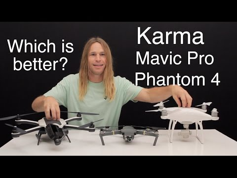 GoPro Karma, DJI Mavic Pro, and Phantom 4 Comparison