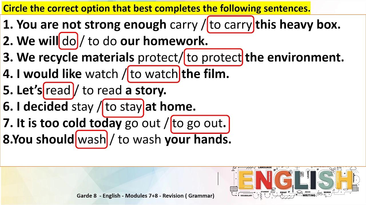 small resolution of Grade 8 English Modules 8 \u0026 7 Round up Full \u0026 bare infinitive + reported  speech statement - YouTube