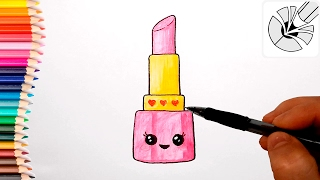 Cute Drawings - How to Draw a Cute Lipstick - Draw and Color