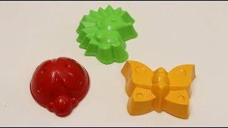 Учим цвета на английском языке для маленьких детей Кинетический песок формочки ежик бабочка и жучок