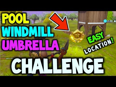 Fortnite: Search Between a Pool, Windmill and an Umbrella Location | (EASY GUIDE! CHALLENGE WEEK 2!)