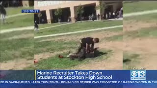 VIDEO: Marine Recruiter Breaks Up Student Fight At Edison High With Tackle