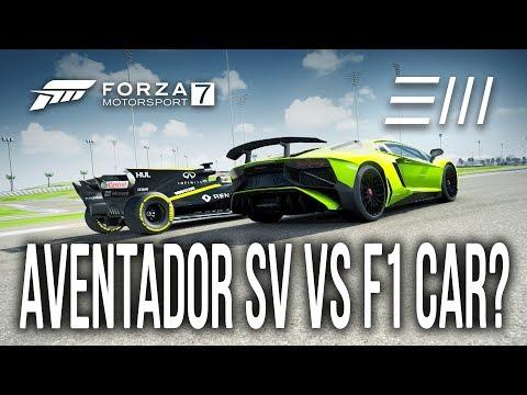 Forza 7 - MAXED OUT Lamborghini AVENTADOR SV FASTER than a Formula 1?