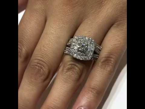 3 ct Cushion Halo Diamond Double Halo Engagement Wedding