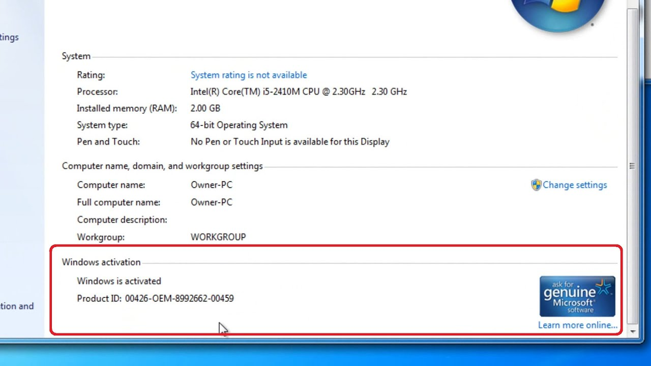 windows 7 product id change