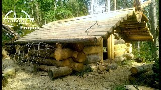 Off Grid Log Cabin Built by One Man: Laying Extra-Thick Logs Solo