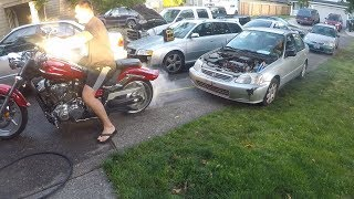 PULLING A CAR  WITH A MOTORCYCLE
