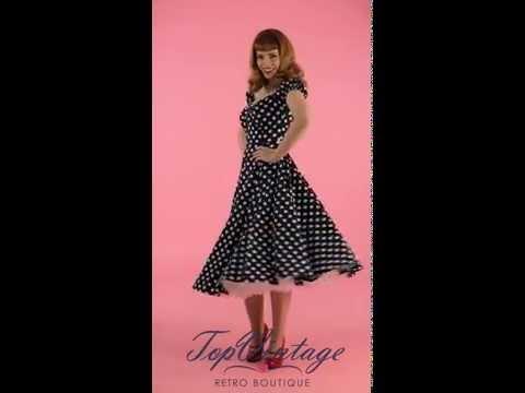 TopVintage - 50s Dolores Doll dress Navy White polka swing dress