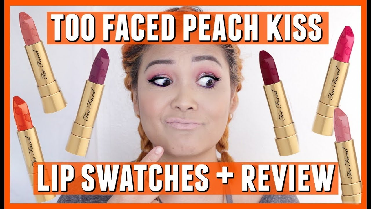 Too Faced Cosmetics New Peach Kiss Lipstick Lip Swatches Review