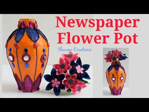 Newspaper Flower Pot/ Paper Mache Flower Vase using Shilpkar Clay/ Best from Waste