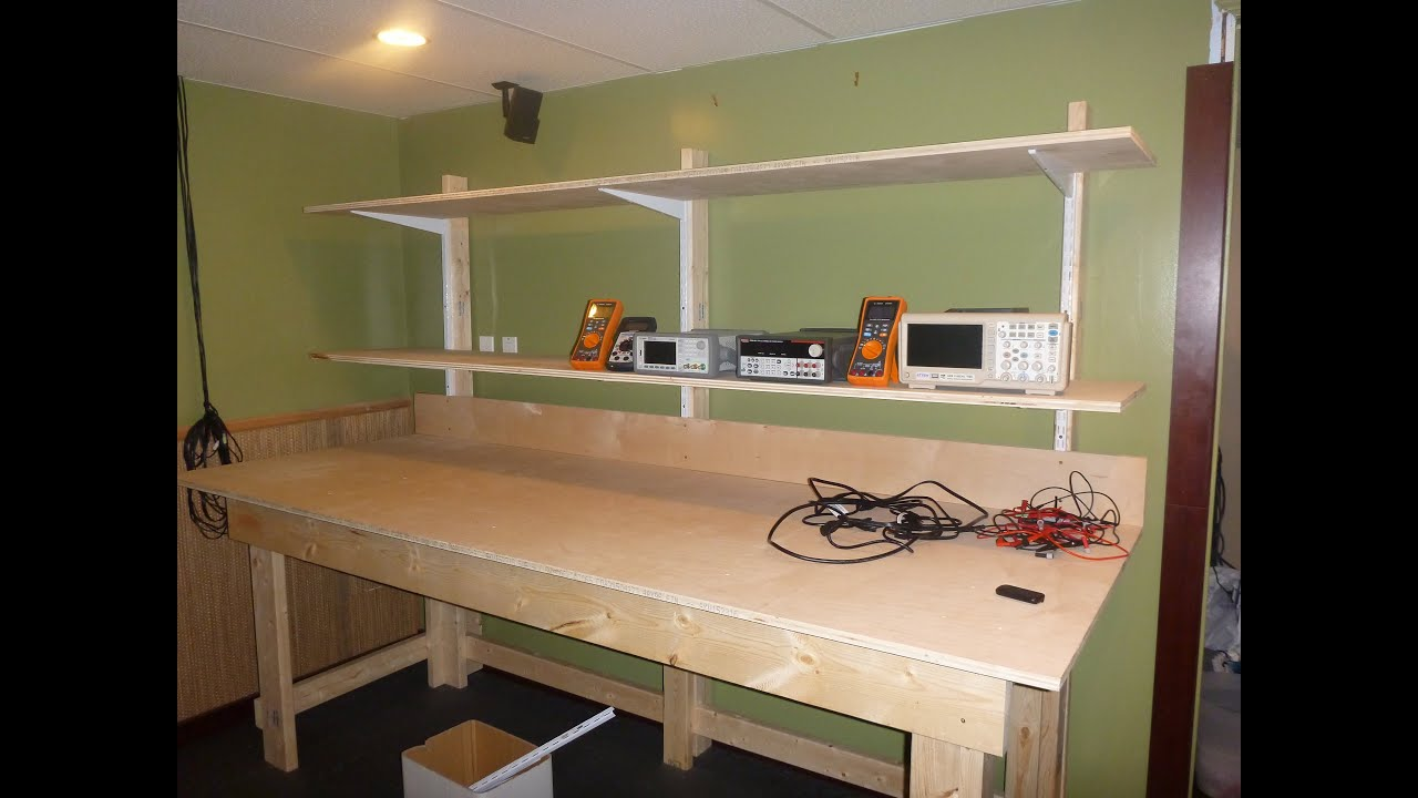 DIY LAB Bench with Shelves pt1 The Bench - YouTube