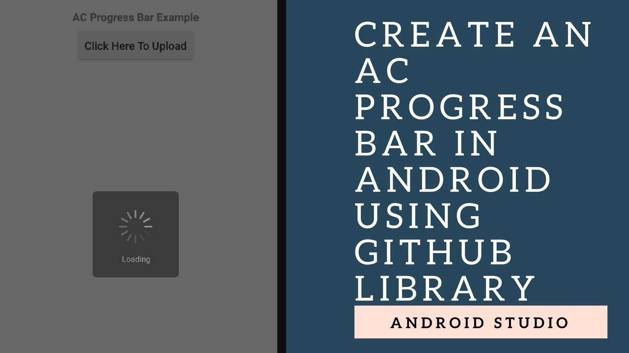 How To Create a AC Alert Dialog (Progress Bar) Using Android Github Library  In Android Studio