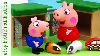 Peppa and George's Pets. Peppa pig toys stop motion animation english episodes 2018