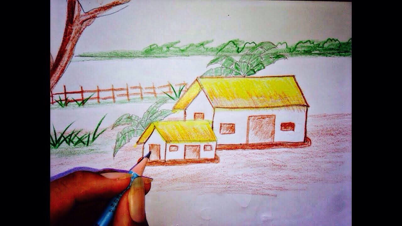 Best drawing scenery beautiful nature drawing landscape step by step