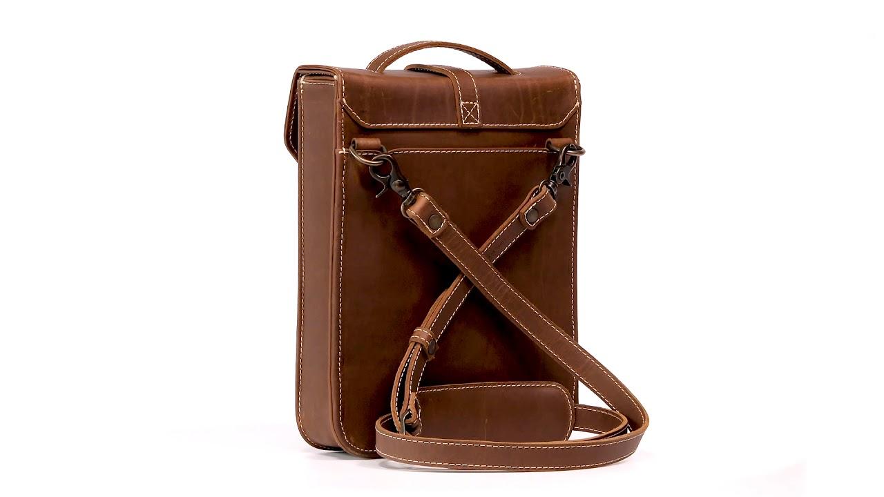 b7539942cab Heritage Slim Leather Satchel Bookbag for iPad & Books | Pad & Quill