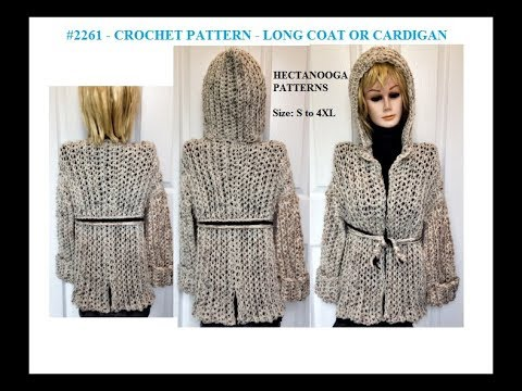 EASIEST METHOD TO CROCHET A CARDIGAN, SWEATER, JACKET OR COAT, Small to 4XL, #2261