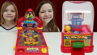 Gum games challenge!  Pinball, Skee Ball, Basketball gumball machines toys
