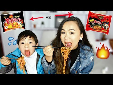 Spicy Noodle Challenge with 5 year old nephew + KPop Dance in Boombayah