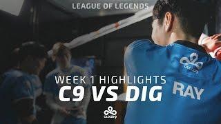 Cloud9 LoL - LCS Week 1 | Cloud9 vs Dignitas Highlights (2017)