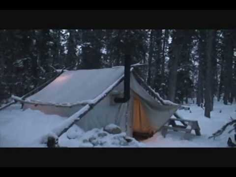 Canvas tent with a wood stove 2012 & Canvas tent with a wood stove 2012 - YouTube