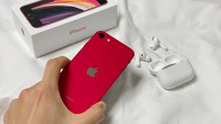 Red❤️iPhone SE2🍎 reviews ㅣ Battery ㅣ iPhone 7 battery case, attach tempered glass