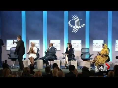 Bono impersonates Bill Clinton at the Clinton Global Initiative event