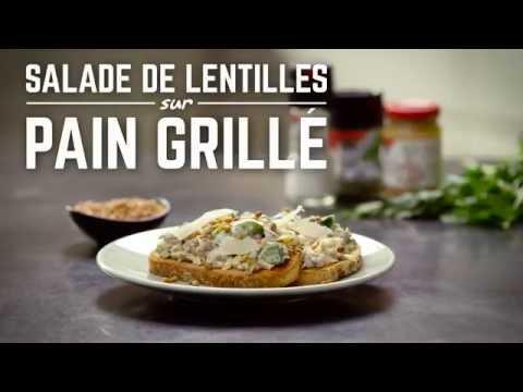 recette-de-salade-de-lentilles-sur-pain-grillé