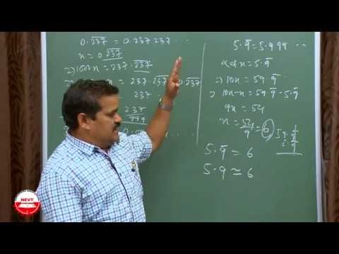 Class 9 Math Number Systems B Conversion of Decimals to Rational For CBSE Class IX by NEVT