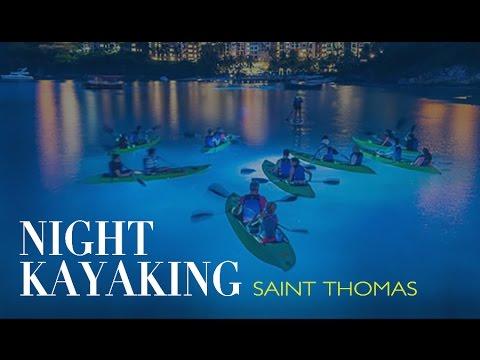 Night Kayaking in Saint Thomas US Virgin Islands - Travel Vlog