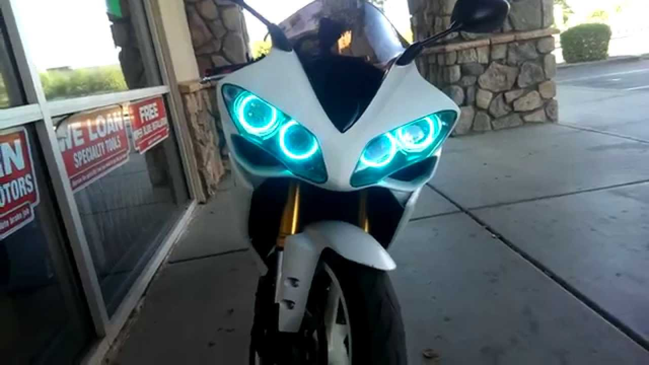Yamaha R1 Custom Halo Headlights - YouTube