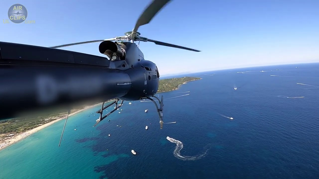 Amazing Airbus H125 low Fly-By over Saint Tropez Beaches, France!!! [AirClips]
