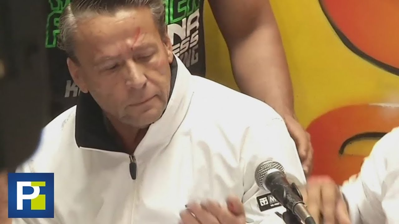 El actor Alfredo Adame termina con sangre en su cara durante conferencia de prensa con Carlos Trejo
