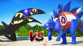[jurassic world evolution] Batman Pelican vs Captain Stegosaurus Dinosaurs Fight Jurassic World Evolution [Dinosaurs battles] 1. Batman Pelican vs ...