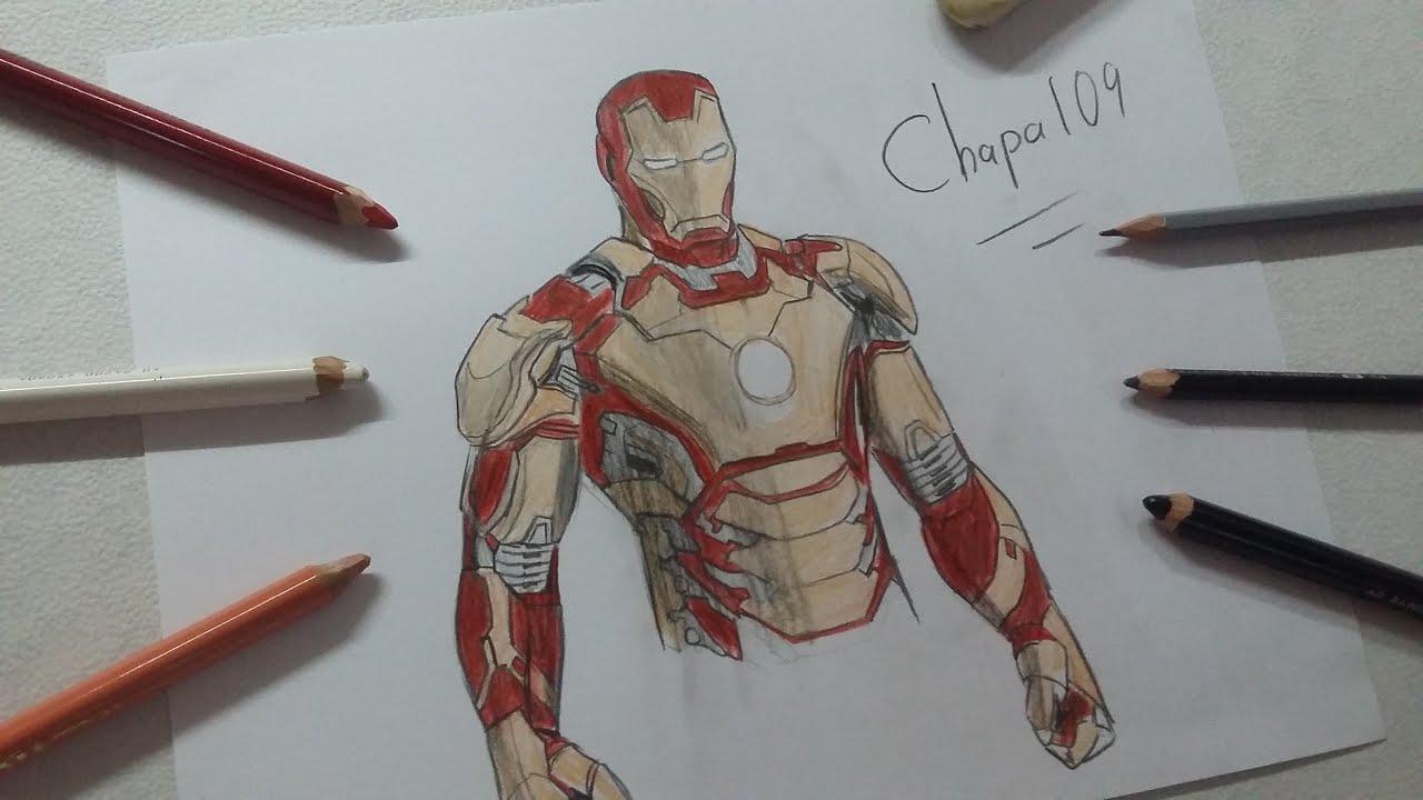 Dibujo De Iron Man Mark 42 Iron Man 3 Drawing Iron Man Mark42 Iron Man3 Youtube