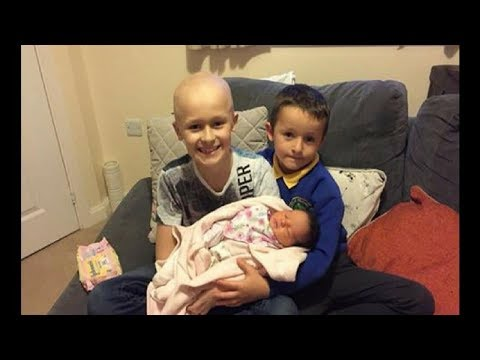 9-Yr-Old With Stage 4 Cancer Meets Newborn Sister. Days Later Parents Look Over And Gasp