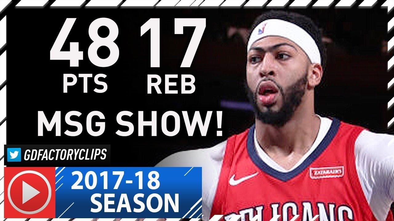 fe13d8c26 Anthony Davis EPIC Full Highlights vs Knicks (2018.01.14) - 48 Pts ...