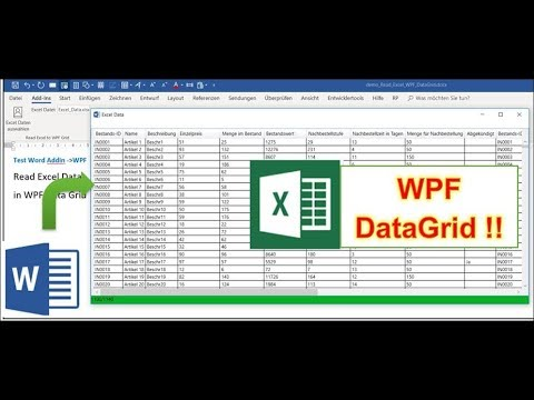 Load Excel in Word Addin into WPF DataGrid !! very powerfull Example Code
