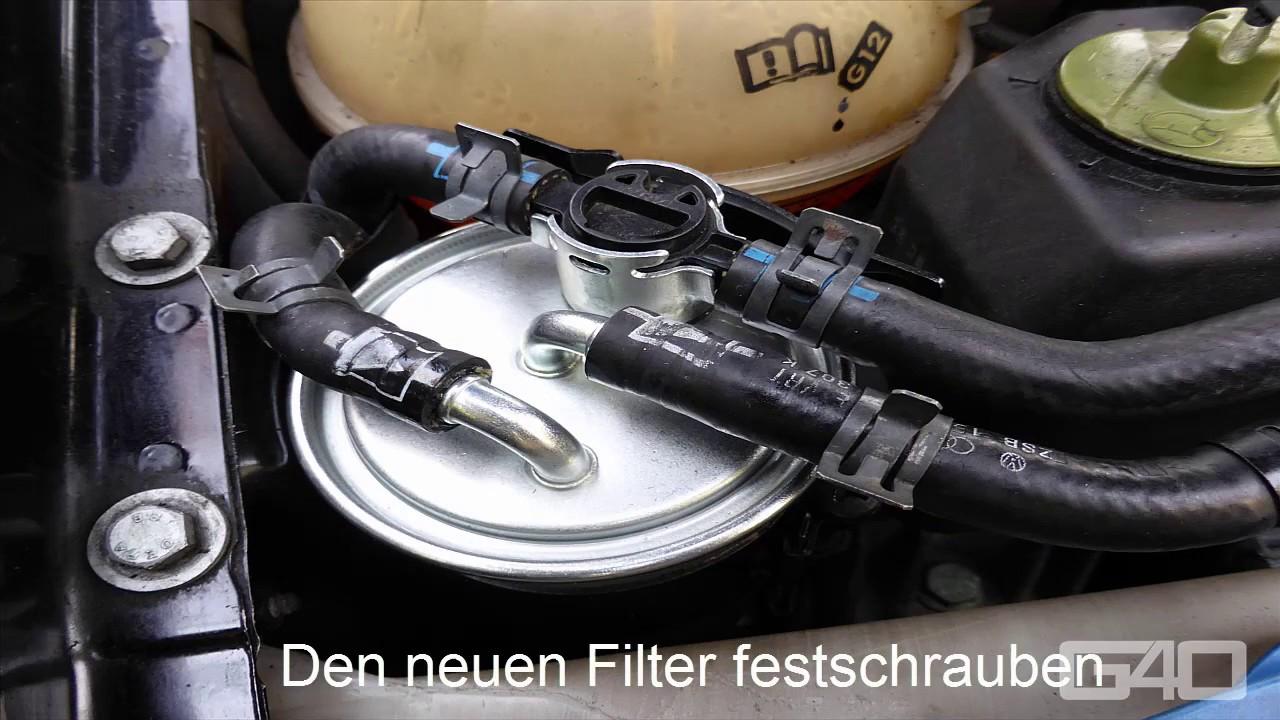vw golf 4 tdi fuel filter diesel filter swap change - how to