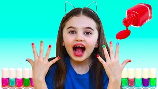 Polina pretend play with magic nail polish colors | 동요와 아이 노래 | 어린이 교육