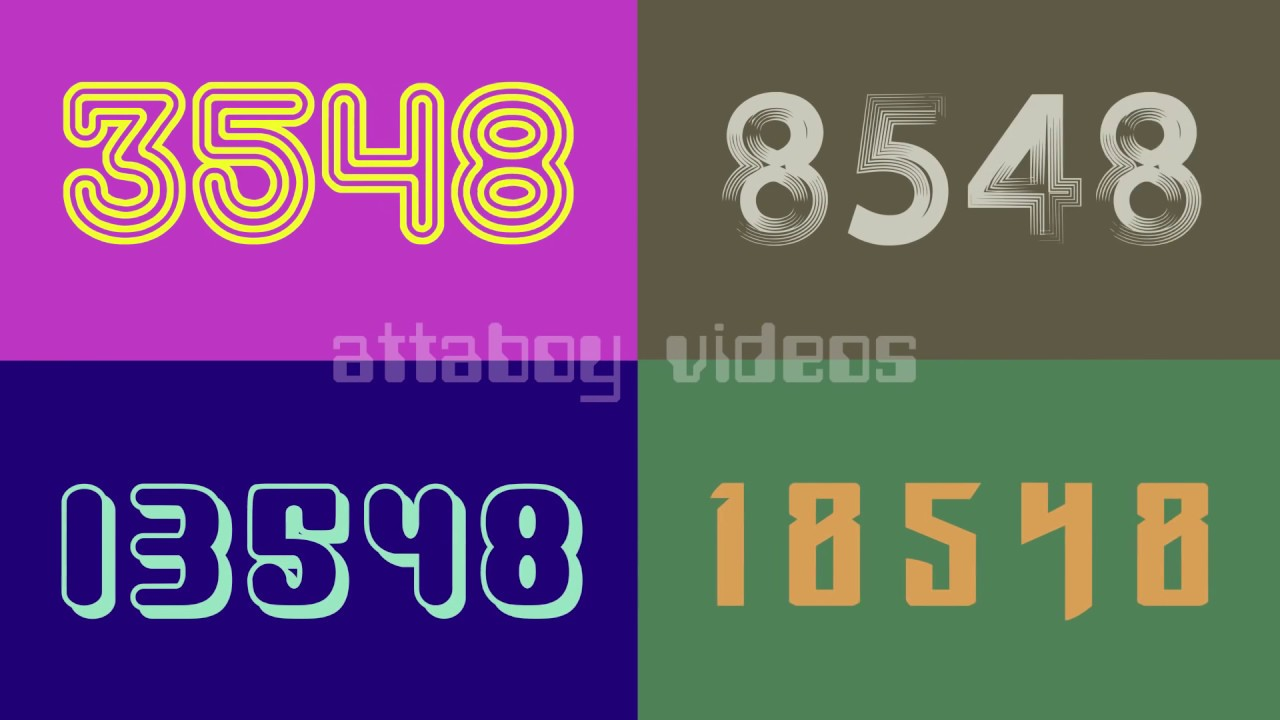 QUAD VISION counting numbers 1 to 20,000 in multi-color 🌈 fonts! HD ...