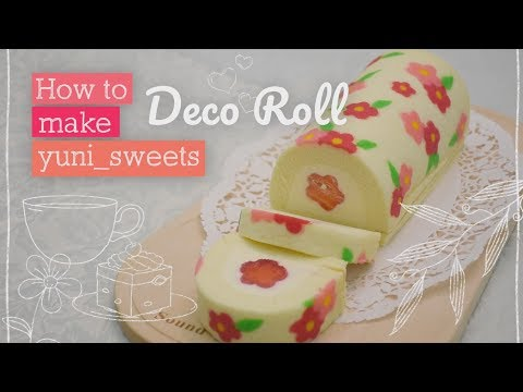How to make floral design Roll cake! | yunisweets Deco Roll