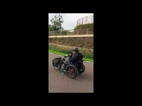 Coleman training on hand bike for Palace to Palace challenge.