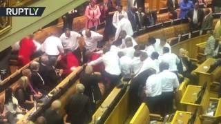 Parliament erupts in violence after interruption to Zuma's speech