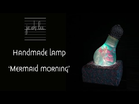 Handmade table lamp 'Mermaid morning', epoxy resin + polymer clay