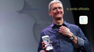 Information sur la sortie officielle de l'iOS 10 via iPhone, iPod Touch et iPad