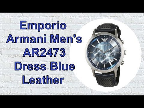Emporio Armani Men's AR2473 Dress Blue Leather Watch. Unboxing